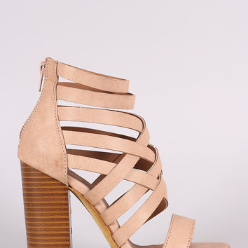 Strappy Woven Open Toe Chunky Heel