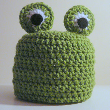 Frog Hat PDF Crochet Pattern - Newborn to Adult INSTANT DOWNLOAD
