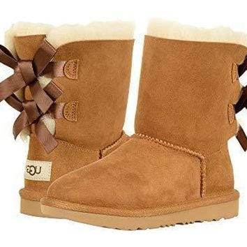 UGG Bow Leather Shoes Boots Winter Half Boots Shoes-1