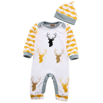 US Stock Summer Baby Rompers Baby Gril Clothing Sets Roupas Newborn Bebes Boys Costume Long Sleeve Brand Baby Boy Clothes