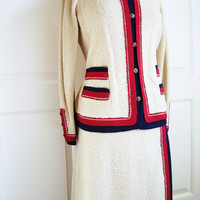 Vintage 60s Adolfo suit/  Saks Fifth Avenue designer cream wool boucle knit/ style skirt & jacket/ red blue stripe trim/