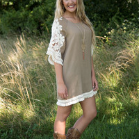 Fields Of Floral Lace Dress - Taupe