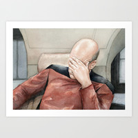 Picard Facepalm Meme Watercolor Art Print by Olechka