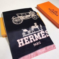 DCCKW2M HERMES Woman Fashion Accessories Sunscreen Cape Scarf Scarves-Black