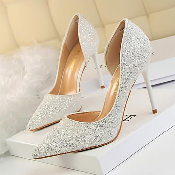 Shiny Pointed Toe Half-d'Orsay Stilettos, Party Shoes, Wedding Shoes