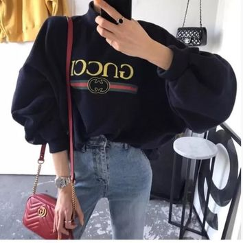 Gucci Winter Alphabet Print Pullover One Size Tops