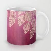 Magenta Garden - watercolor & ink leaves Mug by micklyn