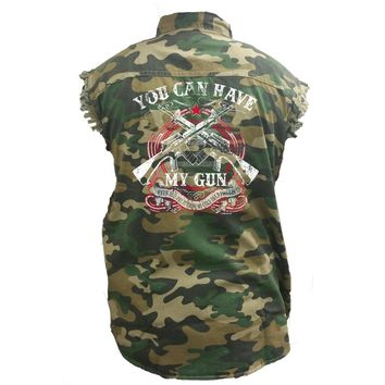 Men's Camo Sleeveless Denim Shirt You Can Have My Guns Denim Vest