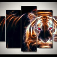 Electric Tiger Limited Edition 5-Piece Wall Art Canvas