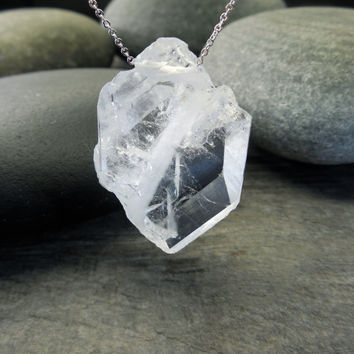 Quartz Pendant, Raw Crystal Necklace, Faden Clear Tabular, Chakra Jewelry, Contemporary Zen, Sterling Silver, Natural Stone, Feminine Chain