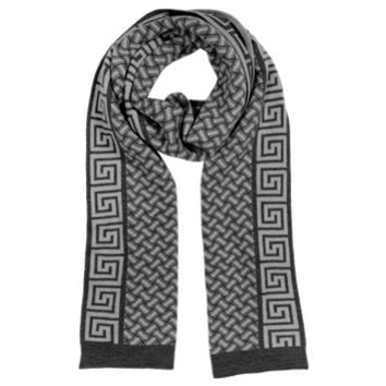 Versace Designer Men's Scarves Greca Logo and Geometric Wool Scarf