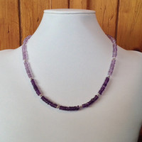 Ombre Amethyst & Sterling Silver Handmade Gemstone Necklace, Amethyst Necklace, Purple Necklace, Women's Necklace, February Birthstone
