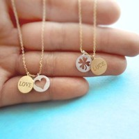 Love/Luck, Coin, Necklace, sweet & cute, necklace