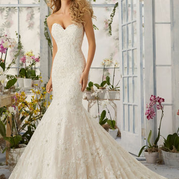 Allover Lace Mermaid Wedding Dress with Pearls | Style 2820 | Morilee