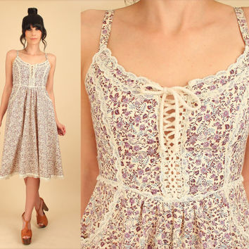 Gunne Sax Sun Dress ViNtAgE 70s // Romantic Lace Up Corseted Floral Crochet Lace Calico Floral Cream Summer Hippie Dress Small S