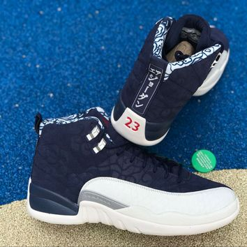 Free Shipping  Nike Jordan 12 Retro PRM International Flight College Navy  BV8016-445 ff30af6f5