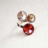 Sterling silver Swarovski crystal adjustable ring / Round crystal silver ring / Freesize Swarovski rivoli ring