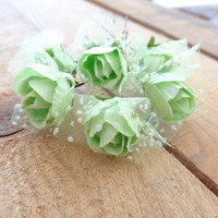 Apple Green  Rose Wedding Hair Pins, Ivory Bridal Hair Pins, Hair Accessories, Bridesmaid Hair, Woodland - Set of 6