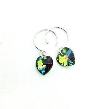 Multicolor Earrings, Rainbow, Small Silver Hoops, Sterling Silver, Swarovski Heart, Colorful, Neon, Tiny Heart, Gift for Teenage Girl