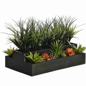 "14"" Tall Plastic Grass in Wooden Pot"