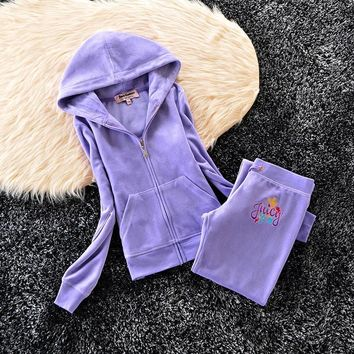 Juicy Couture Crown Logo Flowers Velour Tracksuit 6019 2pcs Women Suits Blue
