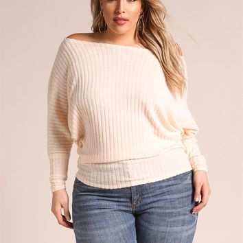 Plus Size Clothing | Plus Size Off Shoulder Marled Ribbed Knit Top | Debshops