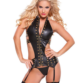 Faux Leather Eyelet Corset W-gold Detail Black O-s