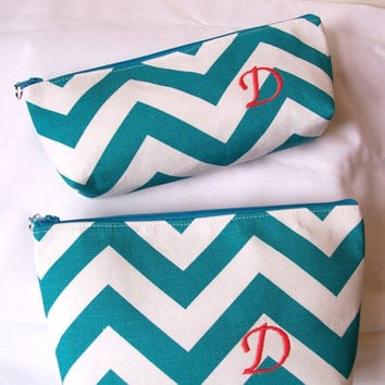 Chevron MATCHING SET Monogram Waterproof Lining Zippered Cosmetic Make Up Bag/Pouch/Accessory/Gadget Case/Beach Pool/Bridesmaid Gift