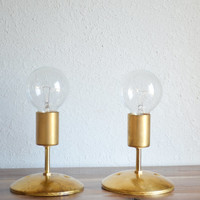 Gold Brass Industrial modern wall sconce light.  Globe light bulb. Bathroom, bedroom, hallway lighting.