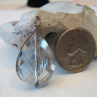 Tear Drop Pendant Silvery Faceted Pear Shape Wire Wrapped Jewelry
