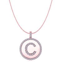 """C"" Diamond Initial 14K Rose Gold Disk Pendant (0.55ct)"