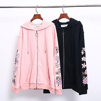 OFF-WHITE autumn and winter new tide brand pink cherry blossom zipper hooded sweater