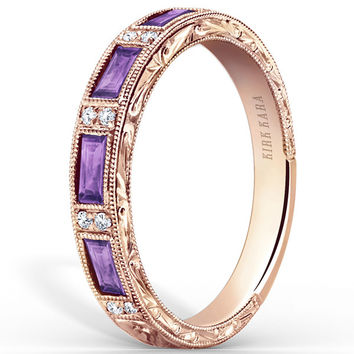"Kirk Kara ""Charlotte"" Baguette Cut Purple Amethyst Diamond Wedding Band"