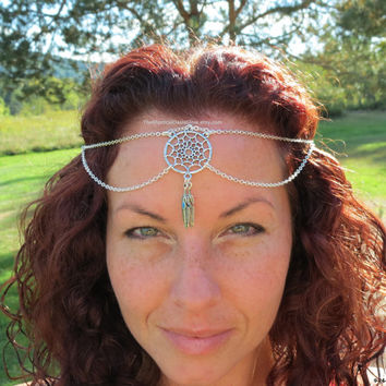 Chain Headpiece Boho Head Jewelry SOLDERED Dream Catcher Head Chain Bohemian Headband Gypsy Jewelry Chic Bohemian Hair Jewelry Tribal Ethnic