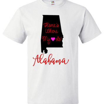 Home is Where My Heart Alabama Short Sleeve Unisex and Youth Shirt