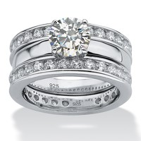 3.28 TCW Round Cubic Zirconia Platinum over Sterling Silver Eternity Wedding Ring Band Set