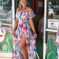 Feather maxi romper