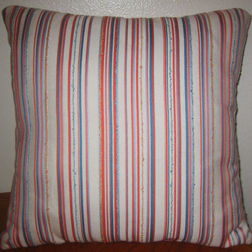 Indoor Outdoor Accent Throw Pillow Cover 16x16 - Bright Spring Stripes - White Orange Blue Yellow