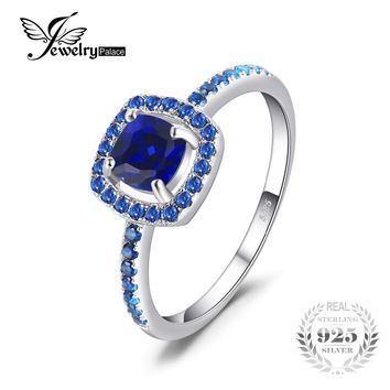 JewelryPalace Fashion 2 ct Square Created Sapphire & Blue Spinel Engagement Rings For Women 100 925 Sterling Silver Fine Jewelry
