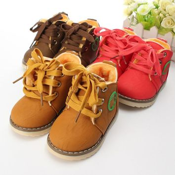 New Childrens Snow Boots Warm Leather Motorcycle Boys Girls Kids Plush Shoes Ankle Boo
