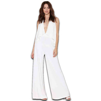 2016 New Spring & Summer European Women Rompers White Deep V Sexy Sleeveless  Rompers Womens Jumpsuit Plus Size S-XXL