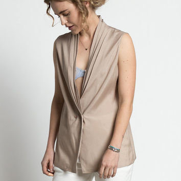 Vintage 90s Taupe Silky Pleated Shawl Collar Sleeveless Blouse | M