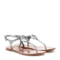 tory burch - violet metallic-leather sandals