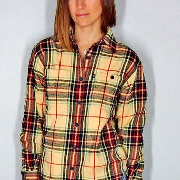Vintage Flannel, Yellow and Gray Button Up 90s Grunge Plaid Comfy Oversize