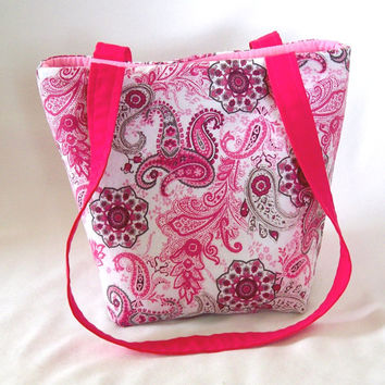 Paisley Purse, Small Tote Bag, Handmade Handbag, Cloth Purse, Pink, Gray, Flowers, Teen Purse