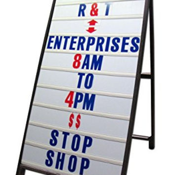 "Wood A-Frame 24""x48"" Double Sided Sidewalk Signs w/ Letter Track Panels & Letter Kit"