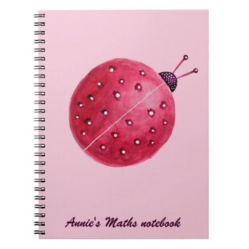 Custom Text Pretty Pink Watercolor Ladybug Kids Spiral Notebook