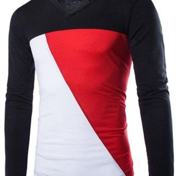 jeansian Men's Fashion Stitching V-Neck Long Sleeves T-shirts Tees Tops D619