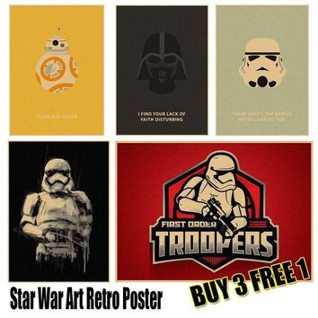 ONETOW Star Wars Art Poster Vintage Retro Wall Sticker Home Decor