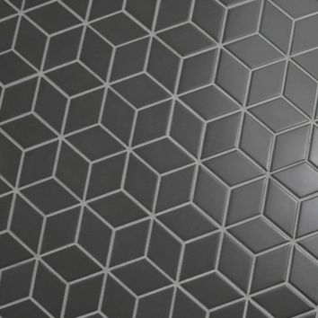"Retro Rhombus 1.88"" x 3.18"" Porcelain Mosaic Tile in Matte Gray"